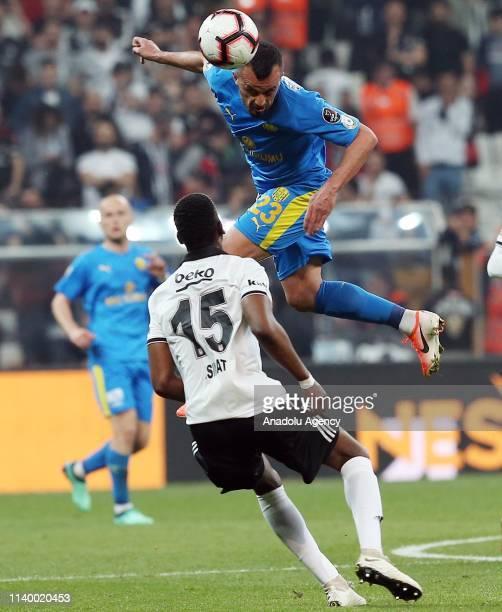 Nicolas IsimatMirin of Besiktas in action against Ilhan Parlak of MKE Ankaragucu during Turkish Super Lig soccer match between Besiktas and MKE...