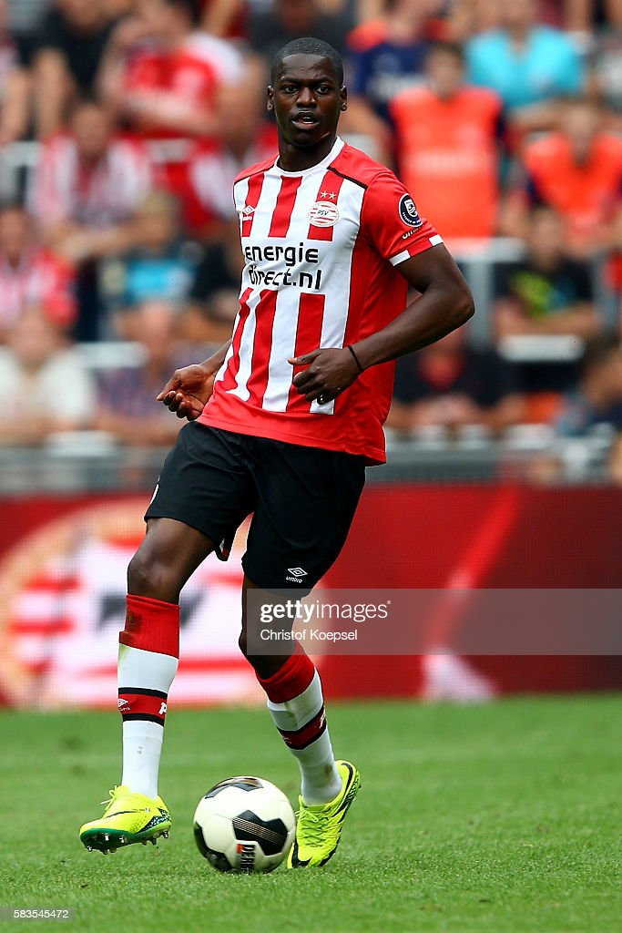 Nicolas Isimat-Mirin of Eindhoven runs with the ball during the friendly match between FC Eindhoven and PSV Eindhoven at Philips Stadium on July 26, 2016 in Eindhoven, Netherlands.