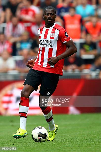 Nicolas Isimat-Mirin of Eindhoven runs with the ball during the friendly match between FC Eindhoven and PSV Eindhoven at Philips Stadium on July 26,...