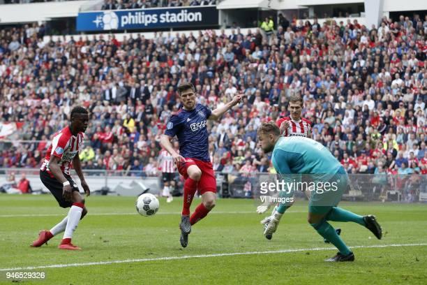 Nicolas IsimatMirin of PSV Klaas Jan Huntelaar of Ajax Jeroen Zoet of PSV Daniel Schwaab of PSV during the Dutch Eredivisie match between PSV...