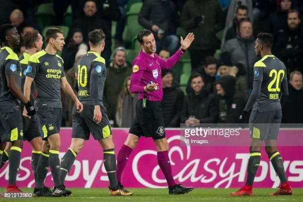 Nicolas Isimat-Mirin of PSV, Luuk de Jong of PSV, Daniel Schwaab of PSV, Marco van Ginkel of PSV, referee Bas Nijhuis, Joshua Brenet of PSV during...