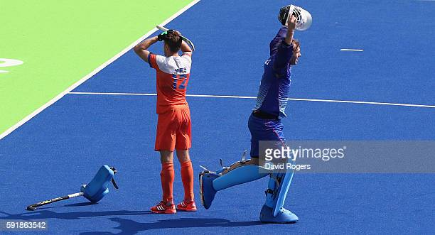 Nicolas Jacobi the Germany goalkeeper celebrates after saving the shot from Sander de Wijn to win the penalty shoot out during the Men's Bronze Medal...