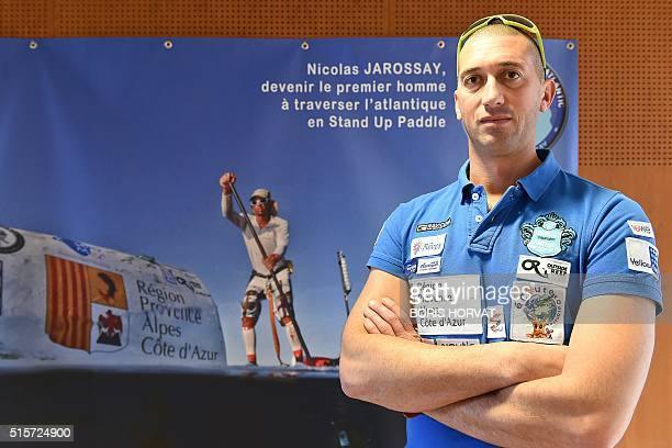 Nicolas Jarossay who is to attempt to cross the Atlantic ocean in his specially designed Stand Up Paddel poses on March 15 2016 in Martigues Jarossay...