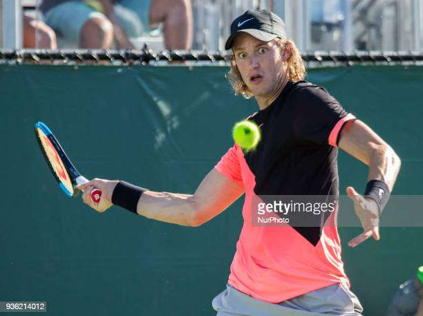 Nicolas Jarry from Chile in action during his first round match agains Cameron Norrie from Great Britain Jarry won the match 76 62 in Miami on March...