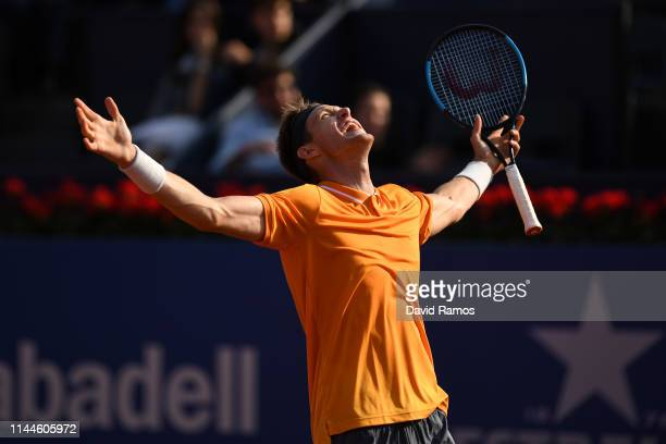 Nicolas Jarry of Chile celebrates victory over Alexander Zverev of Germany in their Mens round of 32 match during day two of the Barcelona Open Banc...