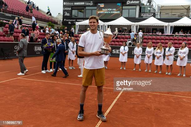 Nicolas Jarry of Chile celebrates winning the Swedish Open ATP 2019 single final in a match against Juan Ignacio Londero of Argentina on July 21 2019...