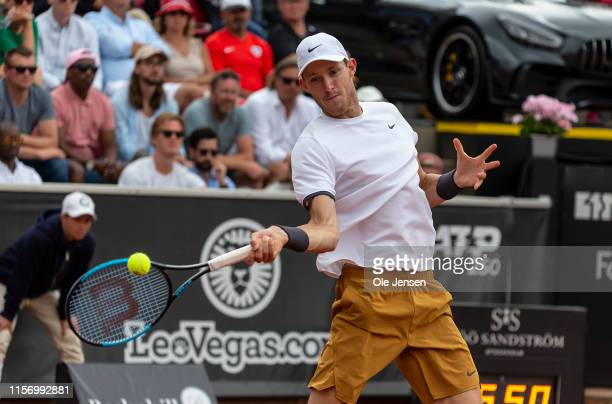 Nicolas Jarry of Chile during his match against Juan Ignacio Londero of Argentina in the Swedish Open ATP 2019 single final on July 21 in Bastad...