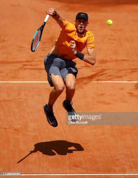 Nicolas Jarry of Chile plays a smash in the final quqlifying round against Cameron Norrie of Great Britain during day one of the Internazionali BNL...