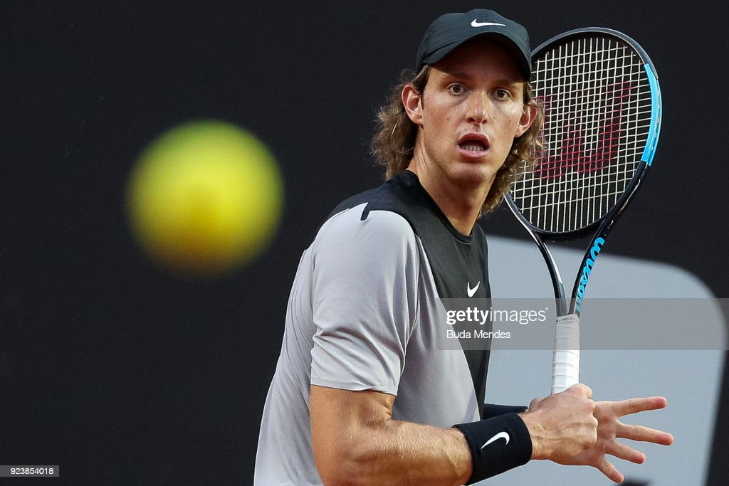 Nicolas Jarry Of Chile Returns A Shot Togo Schwartzman Of Argentina During The Singles Semi