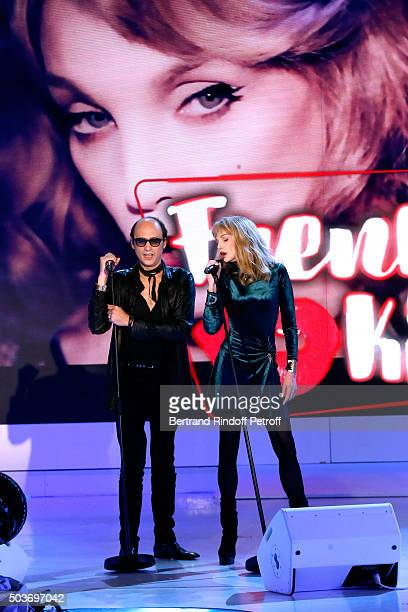 Nicolas Ker and Arielle Dombasle perform and present their futur Album during the 'Vivement Dimanche' French TV Show at Pavillon Gabriel on January 6...
