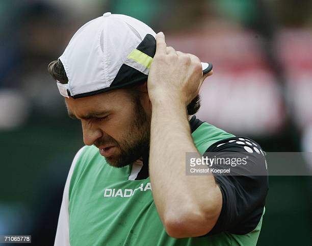 Nicolas Kiefer of Germany looks dejected during the match against Ivan Ljubicic of Croatia he lost 46 and 46 in the final during Day 7 of the ARAG...