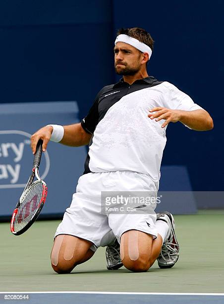 Nicolas Kiefer of Germany reacts after losing a point to Rafael Nadal of Spain during the Rogers Cup at the Rexall Centre at York University July 27...