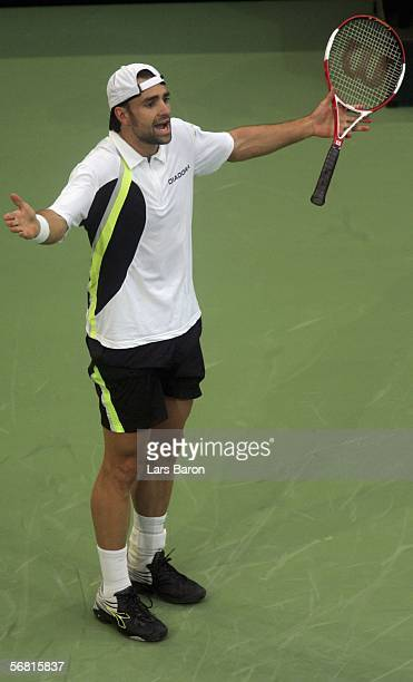 Nicolas Kiefer of Germany reacts during the men's single match between Nicolas Kiefer of Germany and Sebastien Grosjean of France at the Davis Cup...