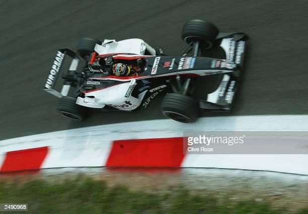 Nicolas Kiesa of Denmark and Minardi in action during practice for the FIA Formula One Italian Grand Prix at the Autodromo Nazionale Monza on...