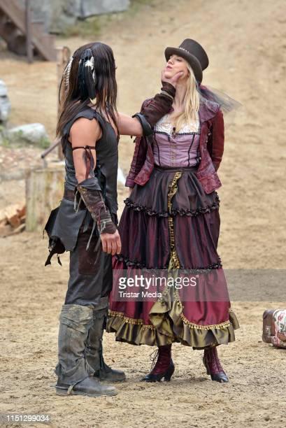 Nicolas Koenig, Larissa Marolt during the press rehearsal for the Karl-May-Play 'Unter Geiern - Der Sohn des Baerenjaegers' on June 21, 2019 in Bad...
