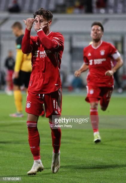Nicolas Kuehn of FC Bayern Muenchen II celebrates scoring the third goal during the 3. Liga match between Bayern Muenchen II and Dynamo Dresden at...