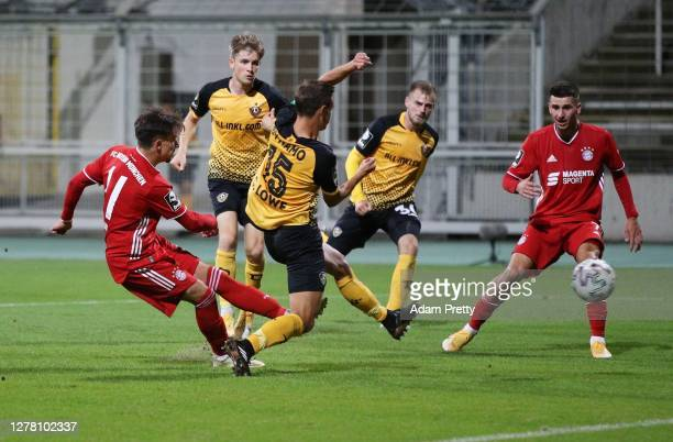 Nicolas Kuehn of FC Bayern Muenchen II scores the third goal during the 3. Liga match between Bayern Muenchen II and Dynamo Dresden at Stadion an der...
