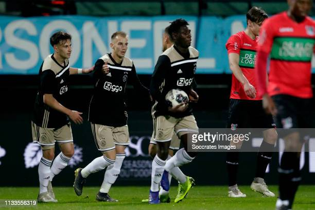 Nicolas Kuhn of Ajax U23, Vaclav Cerny of Ajax U23, Lassina Traore of Ajax U23 celebrates during the Dutch Keuken Kampioen Divisie match between NEC...