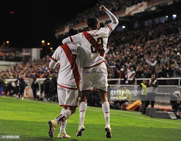 Nicolas Ladislao Miku of Rayo Vallecano de Madrid celebrates with Tiago Manuel Dias Correia Bebe after scoring his team's 2nd goal after having a...