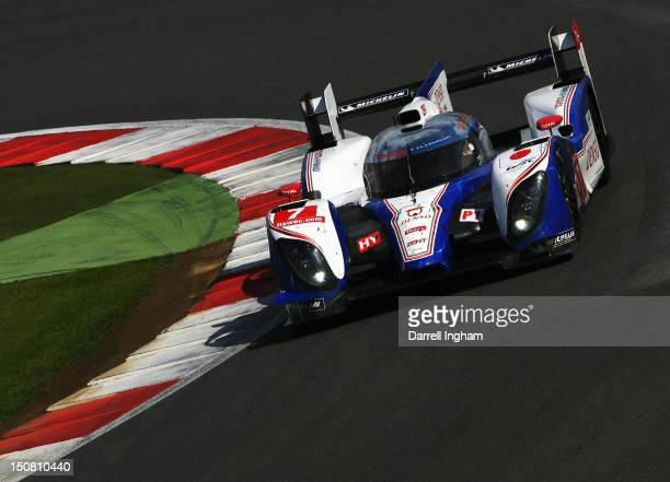 Nicolas Lapierre of France drives the Toyota Racing Toyota TS030 Hybrid during the FIA World Endurance Championship 6 Hours of Silverstone race at...