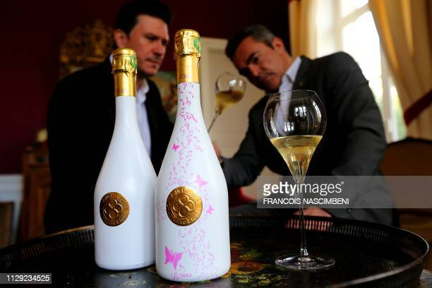 Nicolas Le Tixerand and Frank Leroux vice CEOs of Infinite Eight Champagne present on March 8 2019 in VilleDommange near Reims northeastern France...