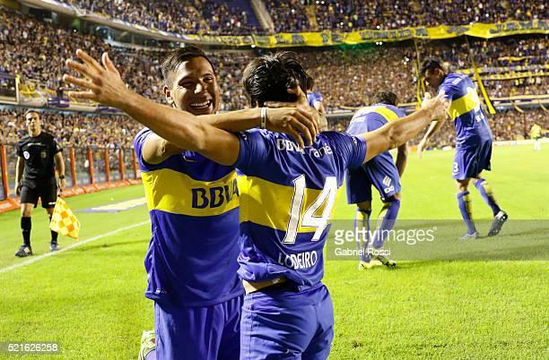 Nicolas Lodeiro of Boca Juniors and teammates celebrate their team's second goal during a match between Boca Juniors and Aldosivi as part of Torneo...