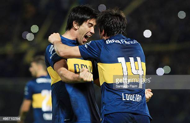 Nicolas Lodeiro of Boca Juniors celebrates after scoring the opening goal by a penalty kick during a final match between Boca Juniors and Rosario...