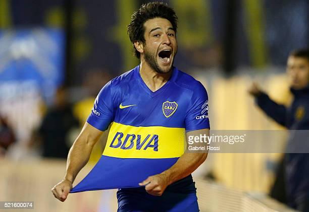 Nicolas Lodeiro of Boca Juniors celebrates after scoring the second goal of his team during a match between Boca Juniors and Aldosivi as part of...