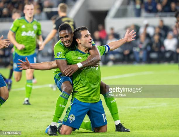 Nicolas Lodeiro of Seattle Sounders celebrates his first half goal during the MLS Western Conference Final between Los Angeles FC and Seattle...
