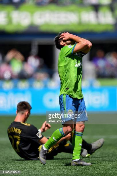 Nicolas Lodeiro of the Seattle Sounders can't believe the call against him during the second half of the match against the Los Angeles FC at...