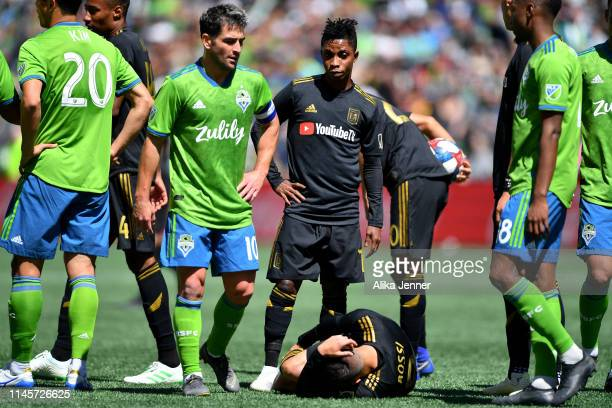 Nicolas Lodeiro of the Seattle Sounders looks irritated with Latif Blessing of the Los Angeles FC flopping during the second half of the match at...