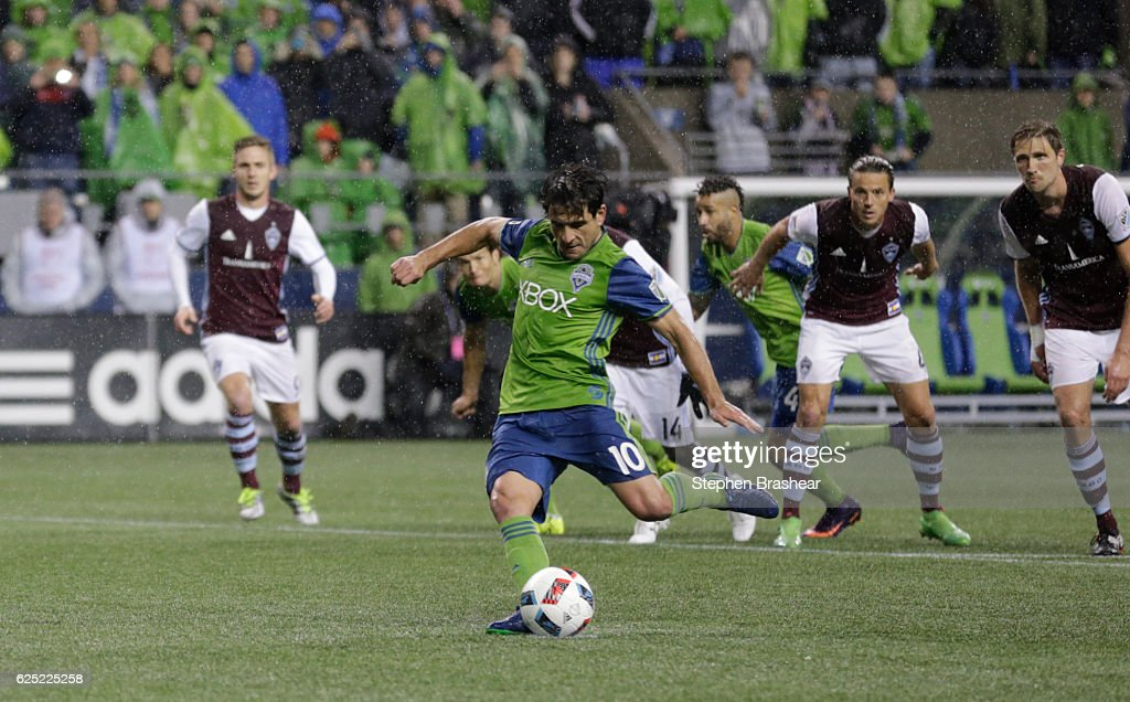Nicolas Lodeiro #10 of the Seattle Sounders scores a goal on a penalty kick during the second half of a match in the first leg of the Western Conference Finals against the Colorado Rapids at CenturyLink Field on November 22, 2016 in Seattle, Washington. The Sounders won the match 2-1.