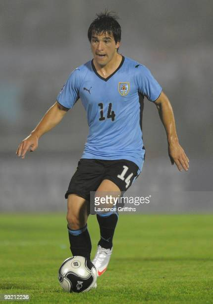 Nicolas Lodeiro of Uruguay in action during the 2010 FIFA World Cup Play Off Second Leg Match between Uruguay and Costa Rica at The Estadio...