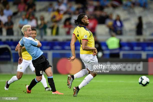 Nicolas Lodeiro of Uruguay kicks the ball to score the first goal of his team during the Copa America Brazil 2019 Group C match between Uruguay and...
