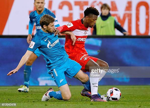 Nicolas Lombaerts of FC Zenit St Petersburg and Ze Luis of FC Spartak Moscow vie for the ball during the Russian Football League match between FC...