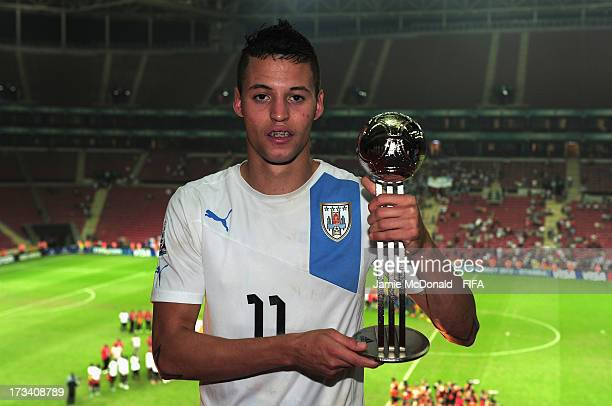 Nicolas Lopez of Uruguay wins the adidas Silver Ball award during the FIFA World Cup Final between France and Uruguay at the Ali Sami Yen Arena on...