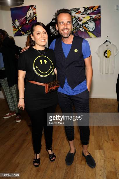Nicolas Loufrani and Stacy Igel attend the Boy Meets Girl Black Label X Smiley Original as part of Paris Fashion Week on June 23 2018 in Paris France