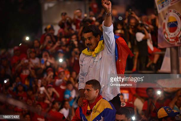 Nicolas Maduro attends closing rally of his campaign on April 11 2013 in Caracas Venezuela Maduro will compete for the presidency with the oppositor...