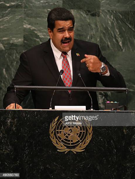 Nicolas Maduro President of Venezuela addresses the United Nations General Assembly at UN headquarters on September 29 2015 in New York City World...