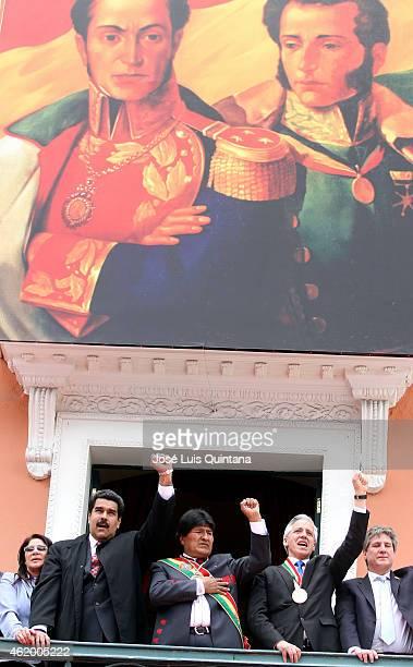 Nicolas Maduro President of Venezuela Evo Morales President of Bolivia Álvaro García Linera VicePresident of Bolivia and Amado Boudou VicePresident...