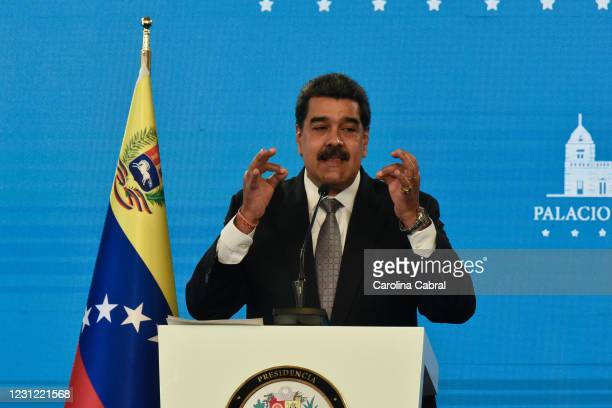 Nicolas Maduro President of Venezuela gestures as he speaks in a press conference at Miraflores Palace on February 17, 2021 in Caracas, Venezuela....