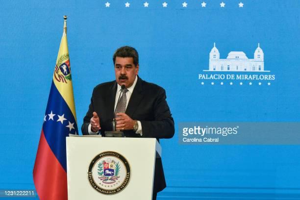 Nicolas Maduro President of Venezuela gestures as he speaks in a press conference in Miraflores Palace on February 17, 2021 in Caracas, Venezuela....