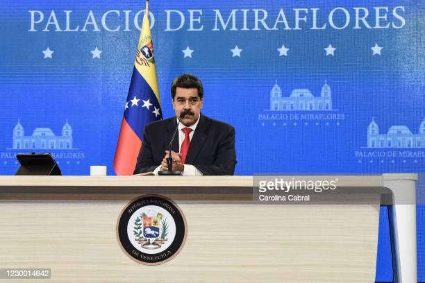 Nicolas Maduro President of Venezuela gestures during a press conference at Palacio de Miraflores on December 8, 2020 in Caracas, Venezuela. On...