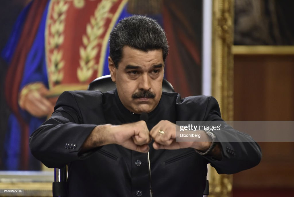 Nicolas Maduro, president of Venezuela, gestures during a press conference in Caracas, Venezuela, on Thursday, June 22, 2017. Since June 15, Maduro has named four new ministers: Mirelys Contreras as Prisons Minister; Ana Reyes as Culture Minister; Kyra Andrade as Communes Minister; Yamilet Mirabal Calderon as Indigenous Peoples Minister; and Samuel Moncada as foreign minister. Photographer: Carlos Becerra/Bloomberg via Getty Images