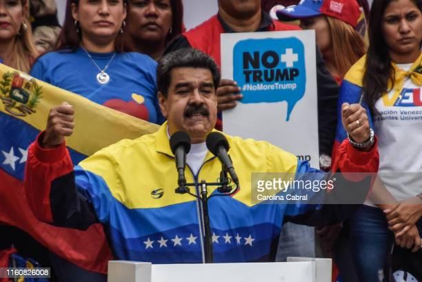 Nicolas Maduro President of Venezuela gestures during a speech in an antitrump demostration on August 10 2019 in Caracas Venezuela President Nicolas...