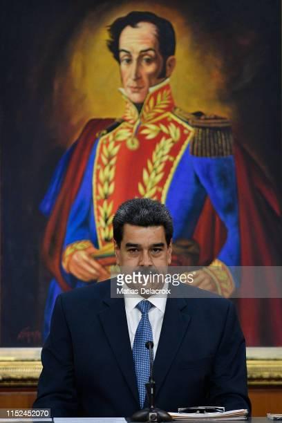 Nicolas Maduro President of Venezuela gestures during the Simon Bolivar Journalism National Award ceremony at Palacio de Miraflores on June 27 2019...