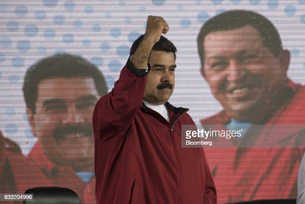 Nicolas Maduro president of Venezuela gestures to the audience during a swearing in ceremony for the new board of directors of Petroleos de Venezuela...