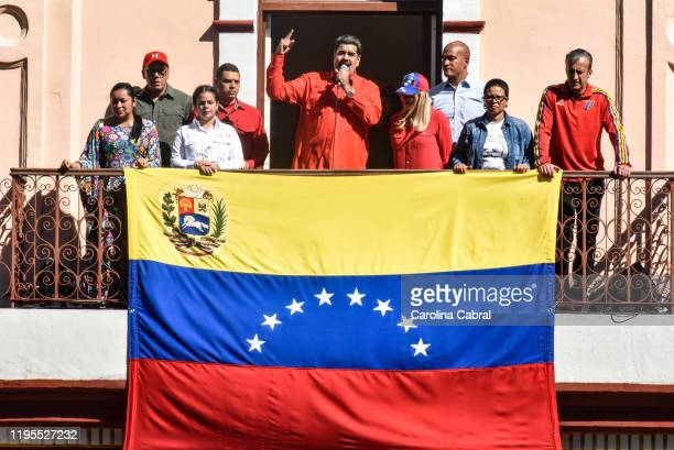 Nicolas Maduro President of Venezuela gives a speech at the People's Balcony to pro government supporters in a demonstration against imperialism...