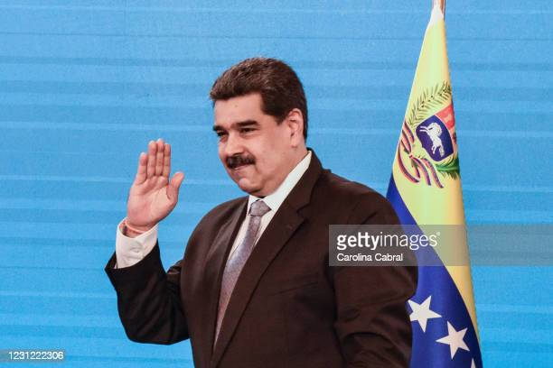 Nicolas Maduro President of Venezuela leaves a press conference in Miraflores Palace on February 17, 2021 in Caracas, Venezuela. Nicolas Maduro...