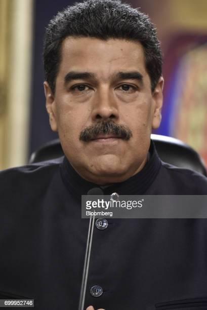 Nicolas Maduro president of Venezuela listens during a press conference in Caracas Venezuela on Thursday June 22 2017 Since June 15 Maduro has named...